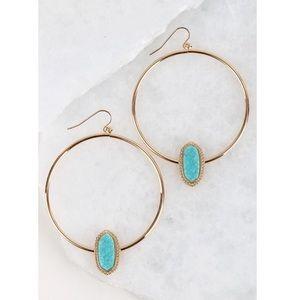 Jewelry - ✨SALE✨LAST 1✨5⭐️NEW! AQUA BLUE DRUZY HOOP EARRINGS
